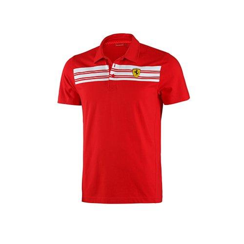 Ferrari Polo à Rayures pour Homme L Rouge
