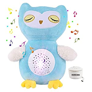 crib bedding and baby bedding chargeable baby crib soother sleep buddy night light and sound machine, sleep soothers music player baby white noise with crying detector 15 lullaby (owl)
