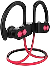 Bluetooth Headphones V5.0, Flame Running Headphones w/16 Hrs Playtime, Bass+ HD Stereo Wireless Sports Earphones w/IPX7 Waterproof Earbuds in Ear for Workout, Gym w/CVC6.0 Noise Cancelling Mic Red