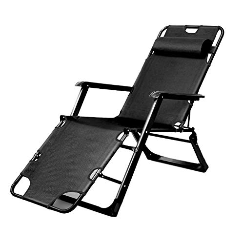 TH Chaise Longue Chaise Zero Gravity Noire, Chaises Longues Pliantes Robustes pour Fauteuils Inclinables D'extérieur