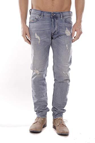 Diesel Herren Jeans Tepphar | Slim-Carrot Vintage Light Blue Destroyed (W36/L32)