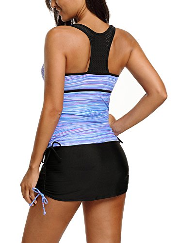 GOSOPIN Womens Color Block Racerback Tankini Tops Skirt with Pants Swimsuits O-Neck Bathing Suits Purple Plus XX-Large