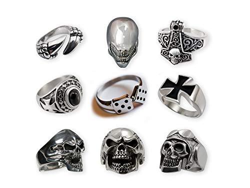 Fly Style Ring aus 316L Edelstahl in 15 Designs für Damen und Herren, Ring Grösse:21.0 mm, Modell:Scary Skull Gothic Halloween