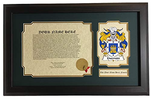 Guzmán - Coat of Arms and Last Name History, 14x22 Inches Matted and Framed