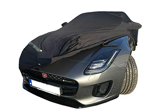 LEDmich Super-Soft Indoor Car Cover Auto Schutz Hülle für Jaguar F Type Coupe R SVR schwarz Abdeckung Stoff Garage Abdeckplane Schutzhülle Abdeckung mit Spiegeltaschen