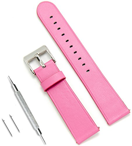 CIVO Quick Release Simple Watch Bands Top Grain Genuine Leather Watch Strap Smart Watches Band 20mm 22mm (Pink, 22mm)