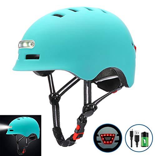 Naduew - Casco de Bicicleta, Casco de Ciclismo con luz LED, Casco de Seguridad Ligero para Bicicleta con USB Recargable, monopatín eléctrico, Rueda, monopatín, Casco Ligero, Unisex para Adultos