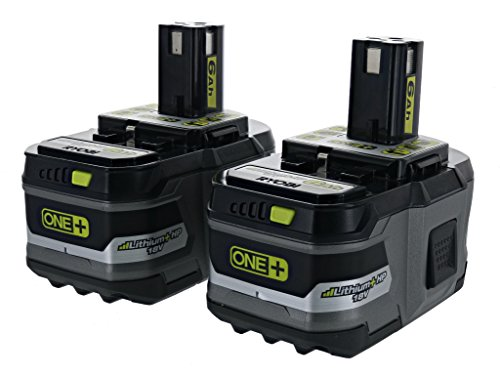 Ryobi P164: 2 Pack of P193 6.0 Amp Hour 18V Lithium Ion Batteries w/ Onboard Fuel Gauge