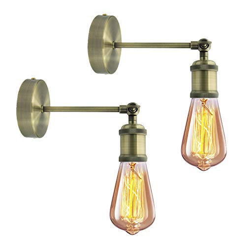 Industrial del Anata Aplique de pared 2 piezas E27 Vintage aplique de pared interior regulable cabeza de cobre retro Wall Light para casa, bar, restaurante, club bronce (bombilla no incluida)
