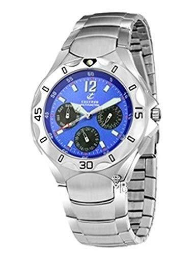 Reloj Calypso Caballero Acero,Esfera Azul Multifunción,acuatico 5ATM