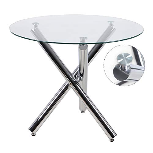 Beliwin Dining Table Glass Round Transparent with 3 Chrome Cross Metal Legs for Kitchen Dining Room Furniture (Clear Round)