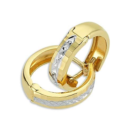 PARGOLD Ohrringe Gold, schmuck damen, creolen gold, ohrstecker gold, Damen Ohrringe aus 585 Gelbgold - 14 Karat Gold (585) Bicolor Creolen Ohrring für Damen - Creolen bicolor 14 Karat