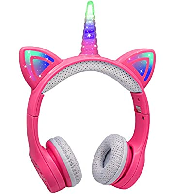 Kids Unicorn Headphones Bluetooth, Yusonic Volume Limited Wireless Headphones with LED Light Up Cat Ear and Unicorn Horn, Built-in Microphone and Audio Sharing Port for iPhone/iPad/Laptop/TV. (Pink) from Yusonic