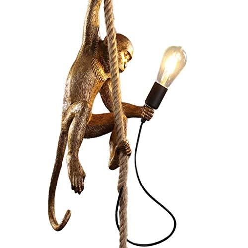Creativo Loft Industrial Mono Araña de Resina Cafe Bar Cuerda de Cáñamo Luz de Techo Sala de Estar Colgante Lámparas Colgantes (Color : Gold)