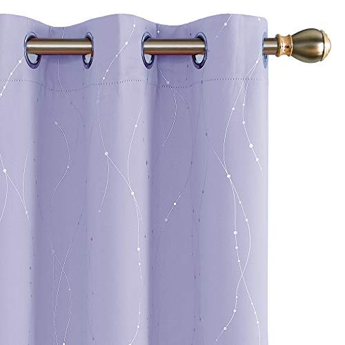 Deconovo Purple Curtains Wave Line with Dots Blackout Curtains with Grommet for Kids Room 38W x 72L Inch Light Purple 2 Panels