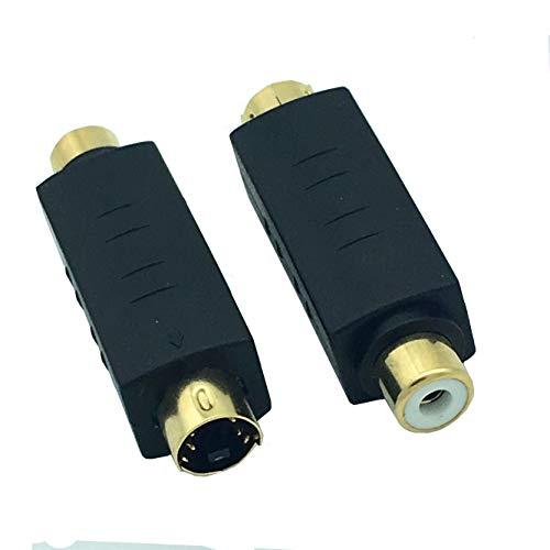 Huante S-Video Macho a RCA Hembra Adaptador De Video Compuesto Convesor De Enchufe, Acoplador DIN 4 P Adaptador Conector De Extensión