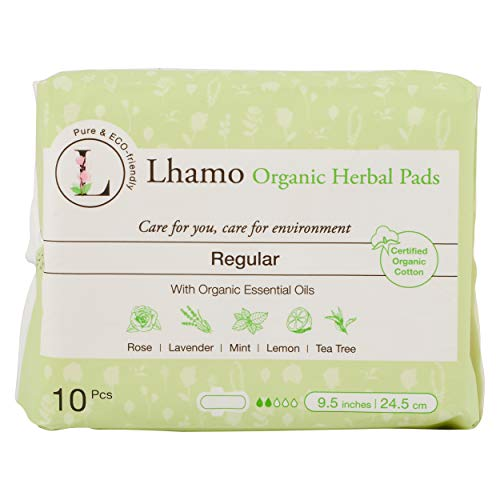 Lhamo Organic Cotton Daily Pads with Natural Herbal Essences - Feminine Care, Menstrual and Period Products, Sanitary Napkins, Ultra Thin, 10 Count