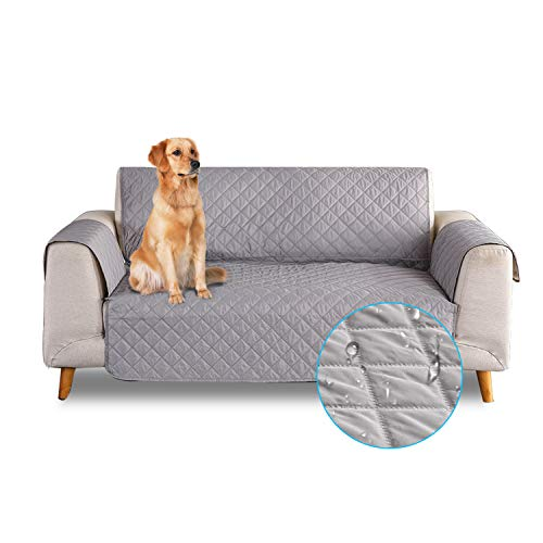 PETCUTE Sofa cover waterproof sofa slipcovers Anti Slip armchair covers Quilted Couch Slipcover Sofa Protector for dog pets Gray 2 Seater