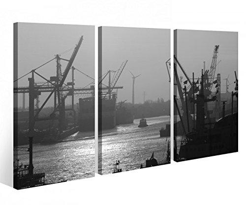 Leinwandbild 3 Tlg. Hamburg Hamburger Hafen Sonnenaufgang schwarz weiß Leinwand Bild Bilder Holz fertig gerahmt 9R757, 3 tlg BxH:120x80cm (3Stk 40x 80cm)