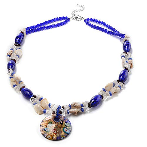 TJC Blue Murano Beads, White Austrian Crystal, Red Garnet and Multi Gemstone Bead String Necklace Size 28' in Silver Tone