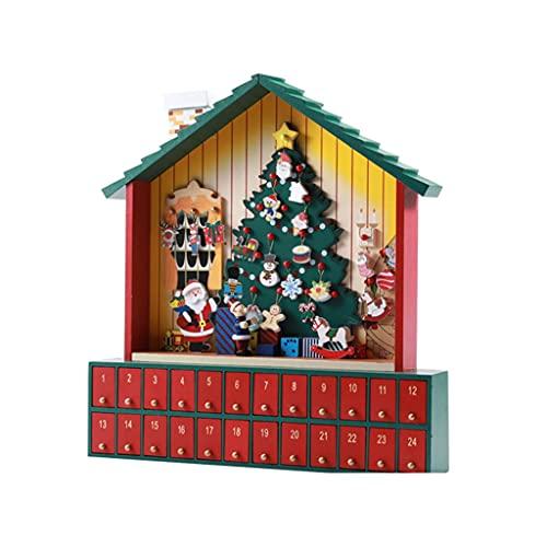 JJH Calendario de la Cuenta Regresiva de Navidad 2021, 24 días Calendario de Adviento, Cajas de Regalo pequeñas Adornos de Mesa Decorativos Decoración de Navidad for niños Adultos