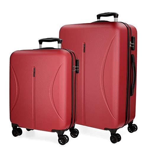 Roll Road Camboya Juego de maletas Rojo 55/70 cms Rígida ABS Cierre combinación 111L 4 Ruedas Dobles Equipaje de Mano