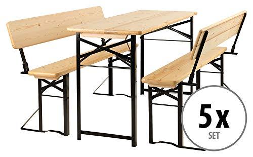 Stagecaptain BBDL-117 Hirschgarten Bierzeltgarnitur mit Lehne für Balkon 5X Set - Kurze Version mit 117 cm Länge - 5X Tisch, 10x Bank - Holz - klappbar - Natur
