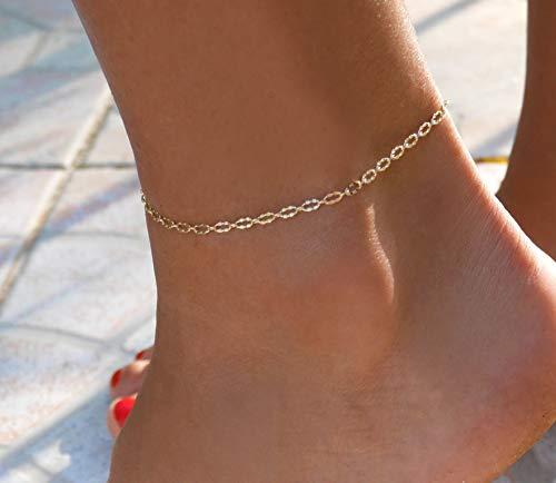 Bracelet de cheville plaqué or - bracelet de cheville chaine fine - Chevillère dorée - bracelet de pied été - bijoux de cheville empilable