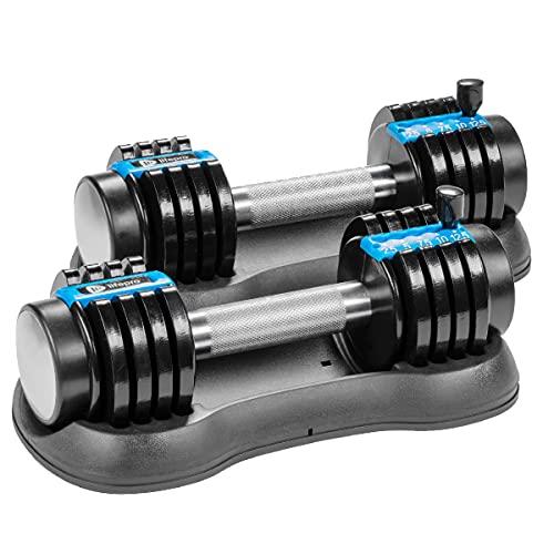 Lifepro 12.5 lb Adjustable Dumbbells Set - 5-in-1, 12.5lb Weight Dumbbells set of 2 Adjustable Weights Plates and Rack - Hand Weights for Women and Men - Adjustable 2.5lb, 5lb, 7.5lb, 10lb, 12.5lb