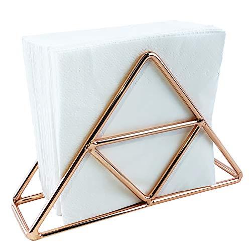 Napkin Holder for Table, Stainless Steel Tissue Dispenser Organizer for Dinner Tables, Kitchen Countertops (Rose gold)