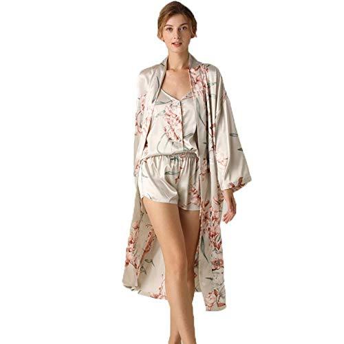 ZYZYY Ondergoed Zomer Drie Stukken Satijn Gedrukte pyjama Sets Luxe & Elegante Vrouwelijke Causal Nachtkleding