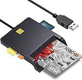 接触型ICカードリーダーライター 【ご注意:パッケージで提供されるミニドライバーディスクは、スロットロードドライブでは使用できず】 SD/Micro SD (TF)/SIM/CAC スマートカードリーダーUSB接続 電子申告(E-Tax) 納税(e-Tax) 自宅で確定申告 ICチップのついた住民基本台帳カード マイナンバーカード 住基カードに対応 Windows Mac OS対応 (ブラック)