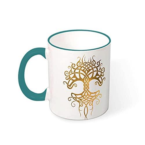 Shire Terry Yggdrasil - Taza de té vikingo con asas, diseño de árbol de la vida, para la oficina y el hogar, 330 ml