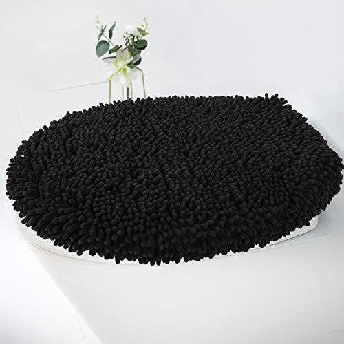 MAYSHINE Seat Cloud Bath Washable Shaggy Microfiber Standard Toilet Lid Covers for Bathroom -Black