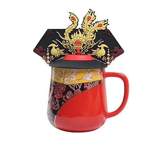 WANZPITS Taza De Café De La Corona De La Corona Imperial Taza - Los Mejores Regalos para Mamá - Taza De Té Verde con Tapa para Té Verde Cappuccino Latte Cacao O Caliente,Rojo