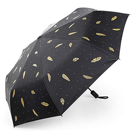 Memory Paraguas Plegables Creativas, De Espesor A Prueba De Viento Impermeable Paraguas Protector Solar Estudiante, Pluma Patrón Chica Anti-UV Sombrilla (Color : Negro)