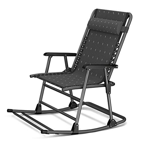 ZHANGYY Sillas de salón para Patio Mecedora de Metal para Patio al Aire Libre, Mecedora de Camping Plegable con Respaldo Alto, apoyabrazos Duros, sillas mecedoras Modernas, Soporte de 400 Libras par