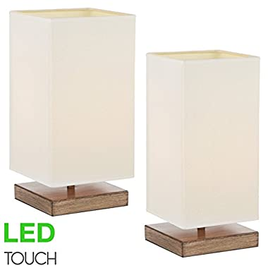 Kira Home Lucerna 13  Touch Bedside Table Lamp + 4W LED Bulb (40W eq.) Energy Efficient, Eco-Friendly, Wood Style Finish + White Canvas Shade, 2-Size Pack