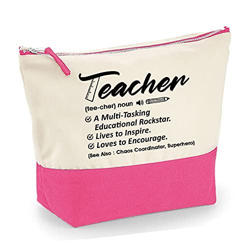 Teacher noun Definition-a multitasking educational rockstar, Thanks Giving, Teacher Appreciation, end of Term, Retirement Gift, Canvas Accessory Bag. (Natural True Pink, L)