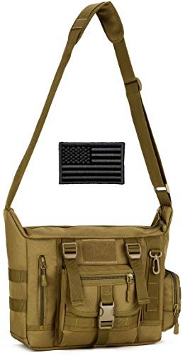 Protector Plus Tactical Messenger Bag Men Military MOLLE Sling Shoulder Pack Briefcase Assault Gear Handbags Outdoor Utility Carry Satchel Laptop Case (Patch Included), Brown
