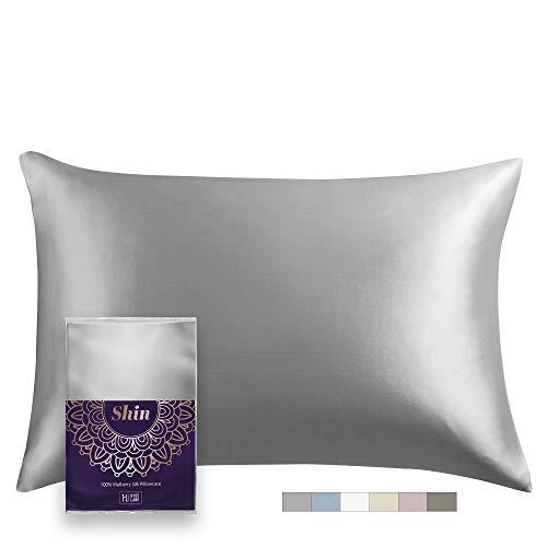 100% Grey Natural Silk Pillowcase King Size, Rejuvenating Satin Pillow case for Hair and Skin with Hidden Zipper 20x36