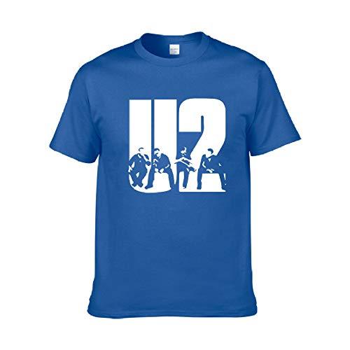 VIOY Berlin Rock Band U2 Band Sommer Baumwolle Rundhals Loses T-Shirt Unisex 6 Farben,Blau,XL