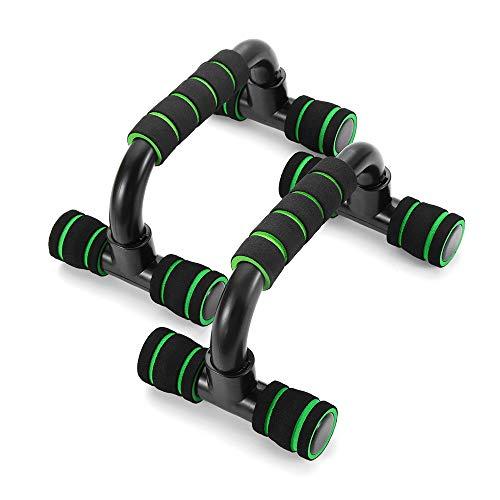 Soporte de barra de empuje con mango de espuma para ejercicio de fitness en el pecho (negro y verde)
