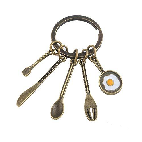 Mode Kreative Küchenwerkzeuge Chef Souvenir Geschenk Schlüsselbund Bronze Suppe Löffel Messer Gabel Pfanne Ei Anhänger Für Mutter