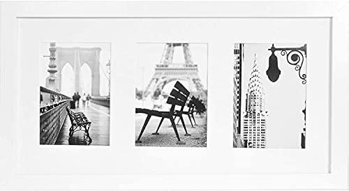 Muzilife Weiß Galerie Bilderrahmen für 3 Fotos mit Passepartout 13x18cm Aufhängung Mehrfach 3er Fotorahlem 3 Ausschnitten (25x51cm)