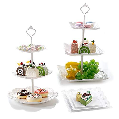 N\O Besylo 3 Etagen Teller Weiß Tortenständer Kuchenständer, 2pcs Kuchen Dessert Torten Etagere, Gebäck Muffin Obst Halter, für Hochzeit, Zuhause, Geburtstag, Party Servierplatte (Weiß)