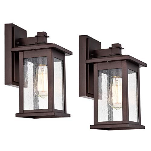 MICSIU Outdoor Wall Mount Light Fixture Exterior Sconces 1 Lighting Lantern Oil Rubbed Bronze Finish with Clear Seedy Glass (Oil Rubbed Bronze 2 Pack)