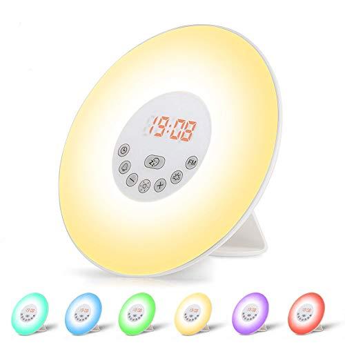 omitium Lichtwecker, Wake Up Licht Sonnenaufgang Sonnenuntergang Simulation Wecker FM Radio mit 7 Farben 6 Natural Sounds Nachttischlampe 10 Dimmstufen und Snooze Funktion für Kinder & Erwachsene