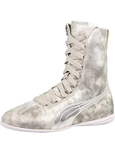 PUMA Womens Eskiva High Metallic Casual Sneakers, Silver, 8