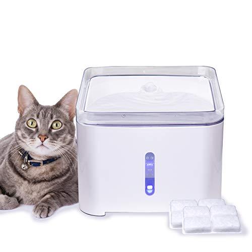 Hengu Katzen Trinkbrunnen, 2L Leiser Wasserbrunnen Wasserspender für Katzen Hunde Haustier, Katzenbrunnen mit Nachtlicht & Automatisches Ausschalten Funktion (Mit 2 Packungen Karbonfilter)